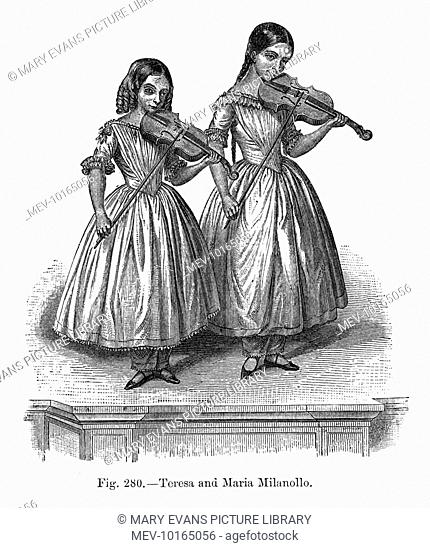 Domenica Maria TERESA MILANOLLA (on left) and her older sister Maria, Italian violin-playing sisters
