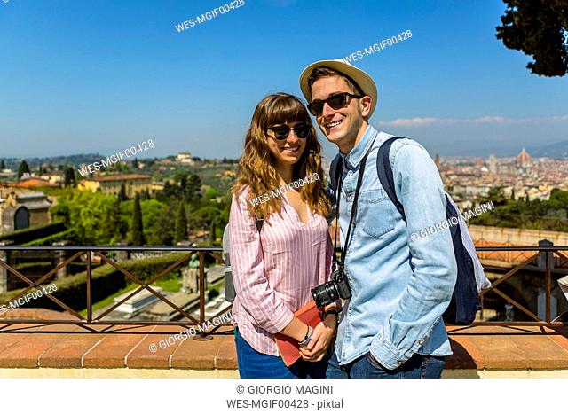 Young couple on a city trip in Florence, Tuscany, Italy