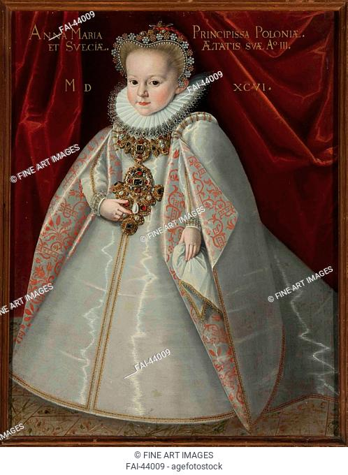 Portrait of Anna Maria Vasa (1593-1600), daughter of King Sigismund III of Poland by Kober, Martin (1550-1609)/Oil on canvas/Mannerism/1596/Poland/Monasterio de...