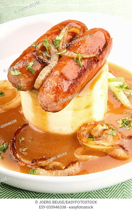 typical irish specialty, banger and mash on a deep plate
