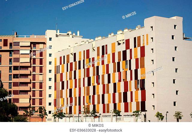 Modern city block with wooden shutters in Murcia, Spain