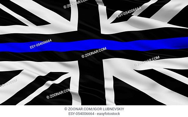 Union Jack Thin Blue Line Flag, Close Up View