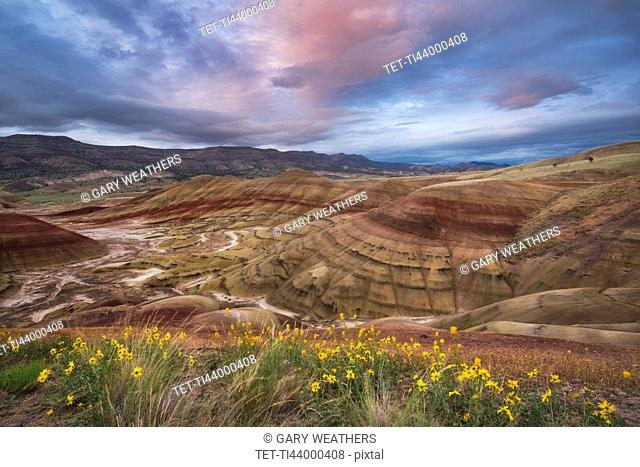 USA, Oregon, Painted Hills, Scenic view of striped mountains