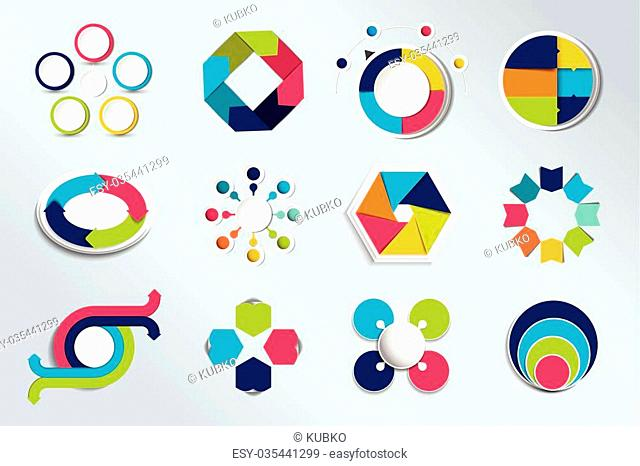 Set of circle infographics. Element connected to circle banner, template, chart, infographic, step by step number option, layout. 3D cyrcle style