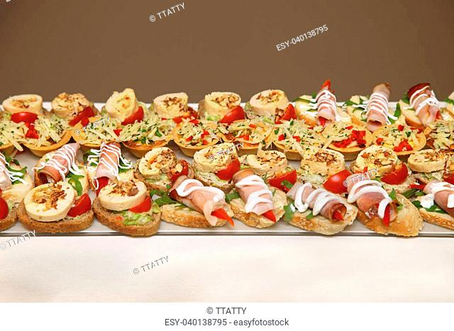 assortment of delicious canapes on promotion event - Canape En Promotion