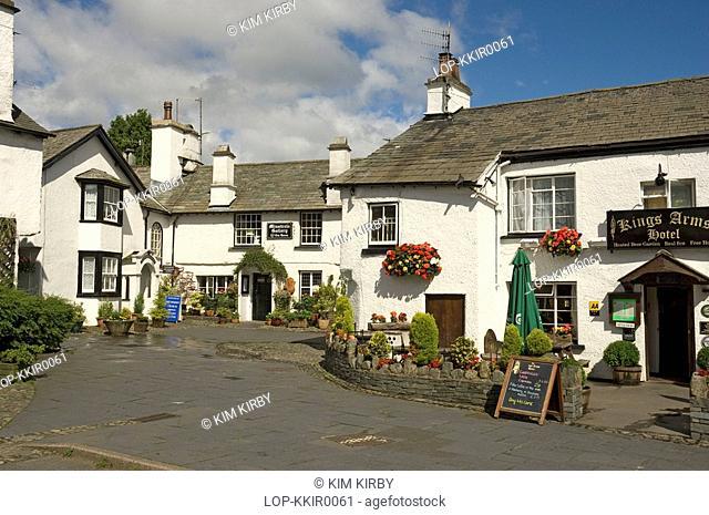 England, Cumbria, Hawkshead, The tea room and public house in Hawkshead village