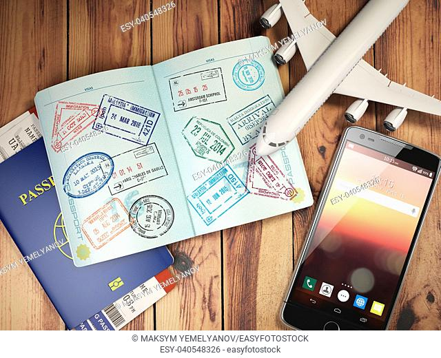 Travel and tourism concept. Passport with visas and boarding passes, airplane and mobile on the wood table. 3d illustration