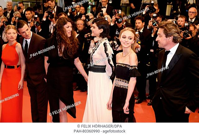 (L-R) French actress Melanie Thierry, French actor Gaspard Ulliel, French director Stephanie Di Giusto, French actress Soko, French US actress Lily-Rose Depp