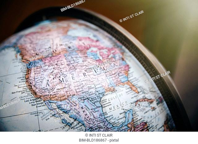 Close up of America on globe