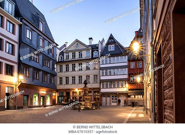 Frankfurt am Main, Hesse, Germany, The square 'Hühnermarkt' with the Stotzebrunnen in the new old town at dusk