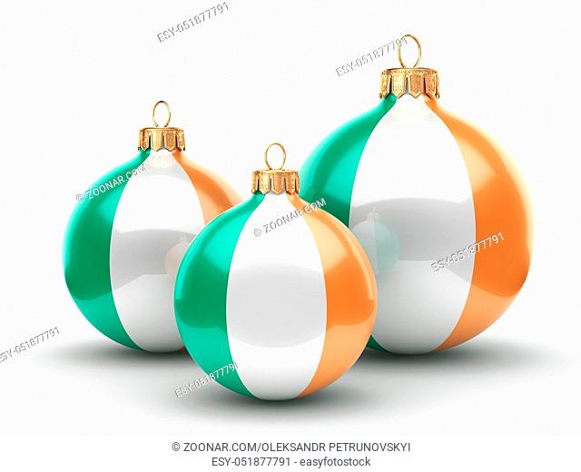 3D rendering Christmas ball decorated with the flag of Ireland