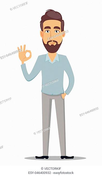 Business man in casual clothes. Businessman cartoon character showing ok sign. Vector illustration on white background