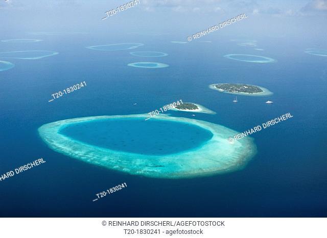 Aerial View of Bandos and Kuda Bandos Islands, North Male Atoll, Maldives