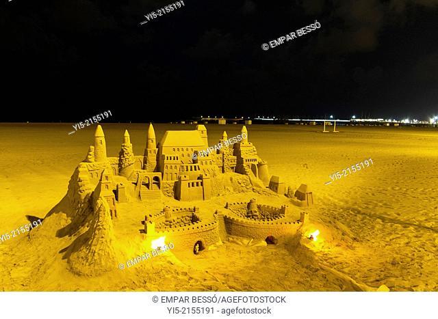 Sandcastle. Malvarrosa beach, Valencia. Spain