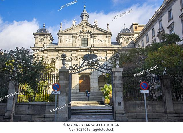 Facade of Santa Barbara church. Madrid, Spain