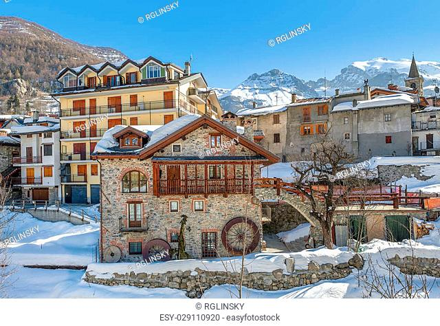 Typical houses in alpine resort of Limone Piemonte in Piedmont, Northern Italy