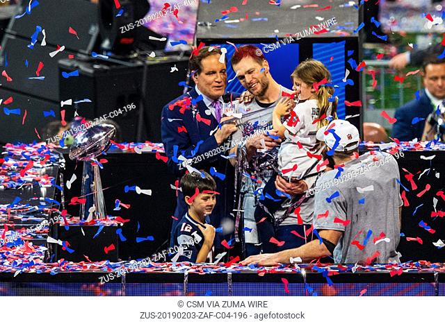 New England Patriots quarterback Tom Brady (12) and his daughter during Super Bowl LIII between the Los Angeles Rams and the New England Patriots on Sunday...