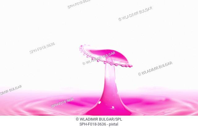 Pink liquid splashing against a white background