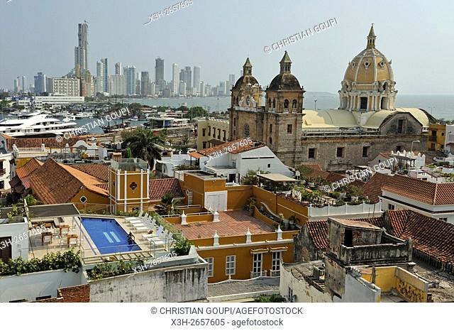 view toward the Church San Pedro Claver from the top of the Movich Hotel in the downtown colonial walled city, Cartagena, Colombia, South America