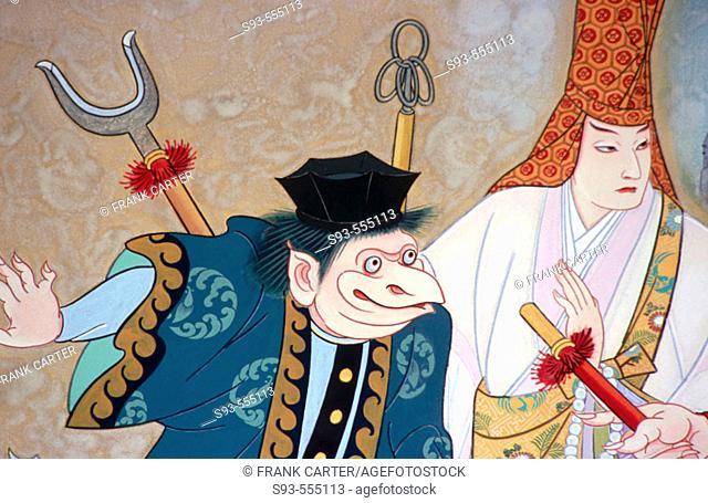 Kabuki poster above the Minamiza Kabuki theater. Kyoto city. Kyoto. Japan