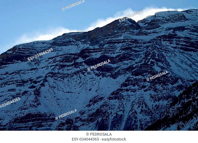 Snowy peak in Pyrenees mountains, Pineta Valley, Bielsa, Huesca, Aragon, Spain