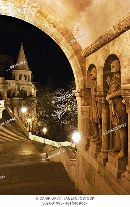 Night time view of the Fishermens' Bastion, Castle District, Budapest, Hungary