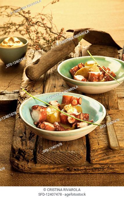 Octopus and potato salad with black garlic mayonnaise (Spain)