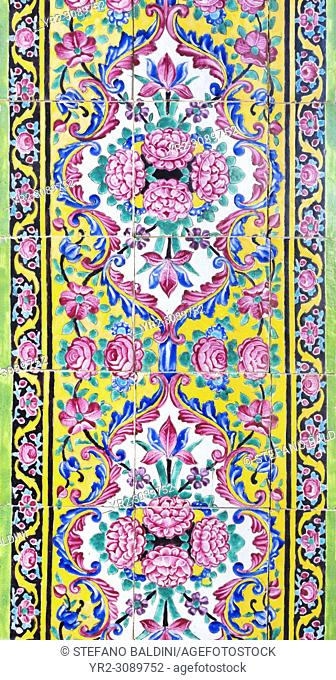 Tilework at Masjed-e Nasir al-Molk, also known as pink mosque, Shiraz, Iran