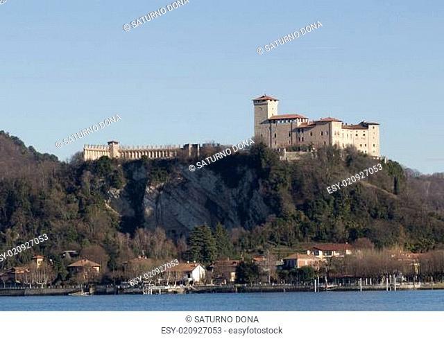 Angera town and Rocca Borromea fortress Lake Maggiore Italy