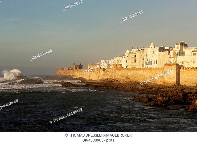 View of Essaouira with its ramparts at the shore of the Atlantic Ocean, Essaouira, Morocco