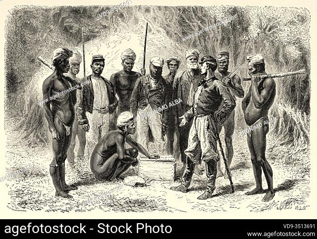 French emissary giving gifts to New Caledonian natives, New Caledonia. Old engraving illustration, Journey to New Caledonia by Jules Garnier