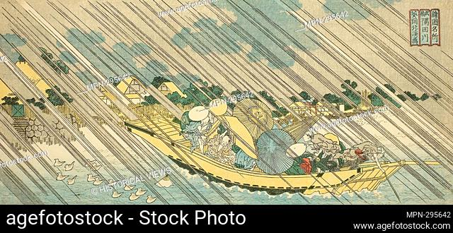 Author: Totoya Hokkei. The Sumida River in Musashi Province (Musashi Sumidagawa), from the series 'Famous Places in the Provinces (Shokoku meisho)' - c