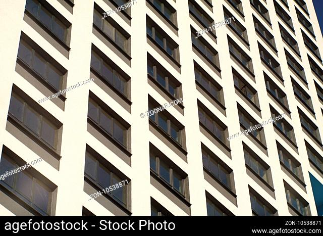 Residental Building on Sky Background, Apartment Building Exterior, Apartment Complex with Windows, Building Face, Highrise Buildings, Square Background