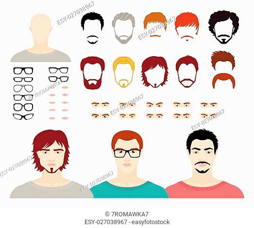 Set for creation fashion male avatars. Vector illustration