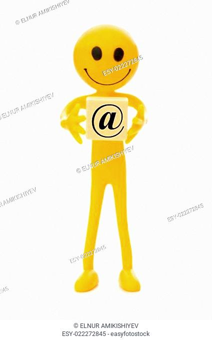 Smilie holding label isolated on the white