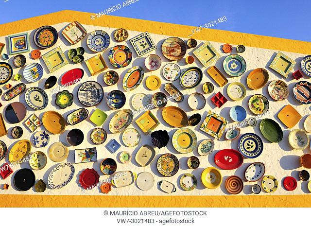 Handicrafts of Portugal exposed on a wall. Algarve, Portugal