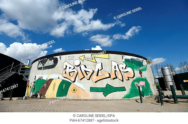 Graffiti that reads 'biogas' can be seen on a biogas facility in Reken,Germany, 12 April 2016. The state of North Rhine-Westphalis wants to cover more than 30...