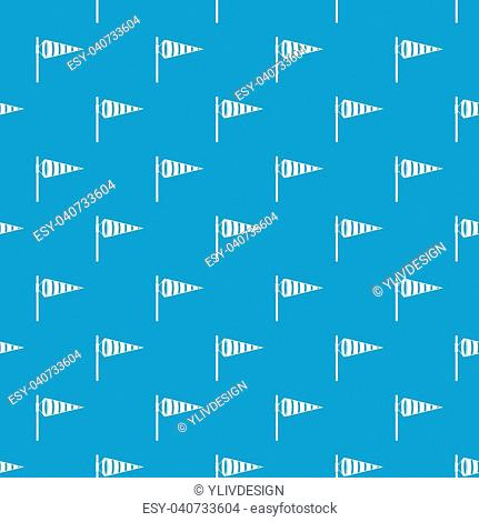 Meteorology windsock inflated by wind pattern repeat seamless in blue color for any design. Vector geometric illustration