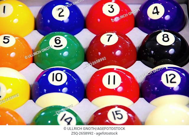 Colourful cue balls with numbers