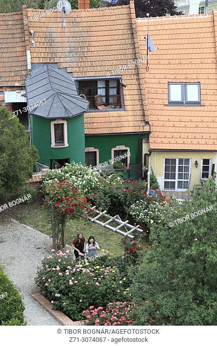 Czech Republic, Moravia, Mikulov, houses, gardens, elevated view,