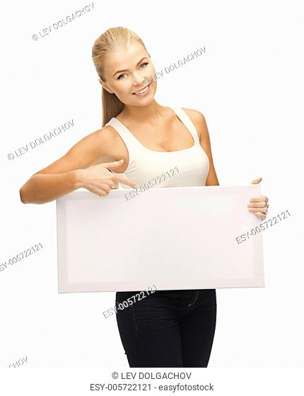 woman pointing her finger at white blank board