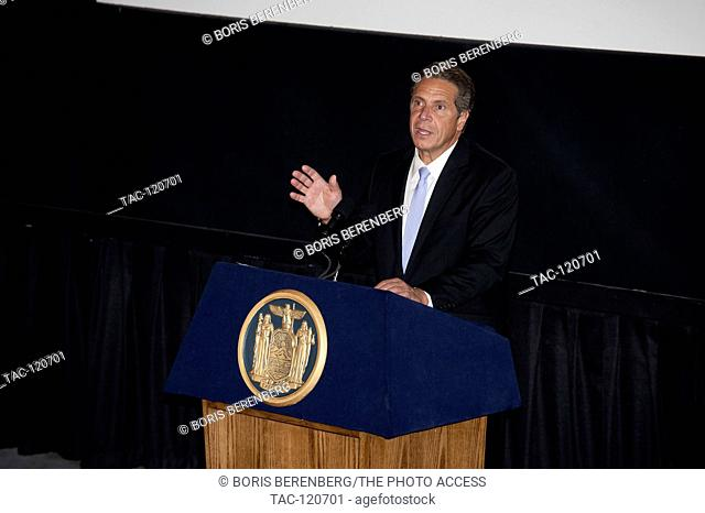 Governor Andrew M. Cuomo speaks at the premier of Newtown at the Landmark Sunshine Theater on October 7, 2016 in New York, New York