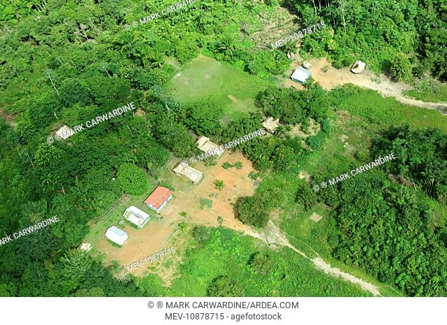 Brazil - aerial view of village of five families of cablocos near Rio Aripuana (  ). Arauazinho Village - Amazon Rainforest - Brazil