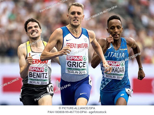 08.08.2018, Berlin: Track and Field: European Championships at the Olympic Stadium: 1500m, preliminary round, men: Timo Benitz (l-r) from Germany