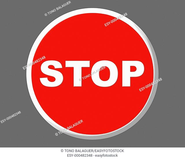 Stop traffic red european round signal illustration over gray background