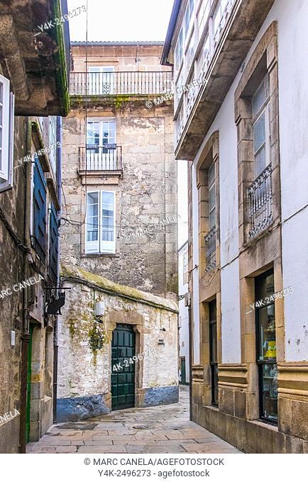 Rua do Raiña, Santiago de Compostela, La Coruña province, Galicia, Spain