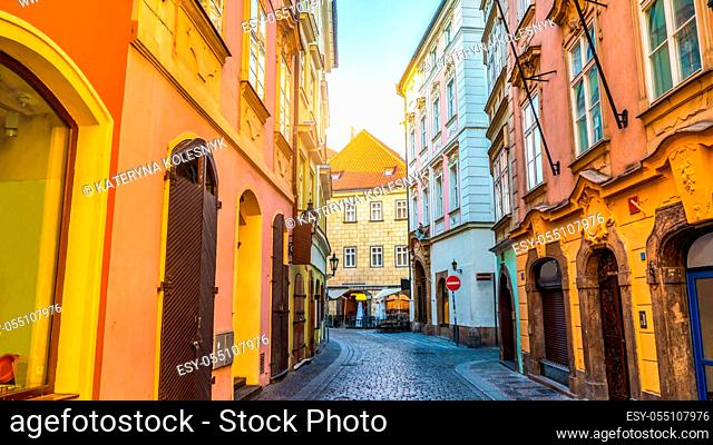 Street in Prague at sunrise, Old Town district