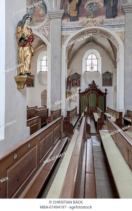 Monastery church St. Lambert of the Seeon monastery, Seeon-Seebruck, Chiemgau, Upper Bavaria, Bavaria, southern Germany, Germany, Europe
