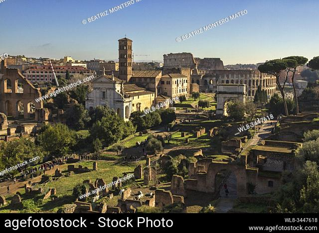 Roman forum of Rome with the colosseum in the background (Italy)