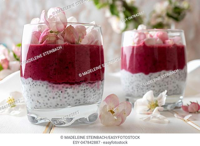 Layered chia pudding with yogurt, blueberries and apple blossoms